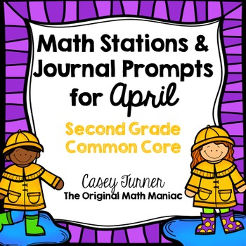 Math Stations and Journal Prompts for April: Second Grade