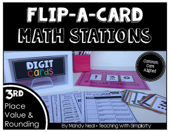 Math Stations for Place Value and Rounding ~ Flip-A-Card