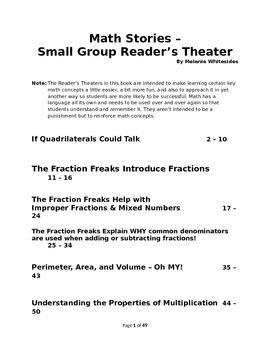 Math Stories - Small Group Reader's Theater