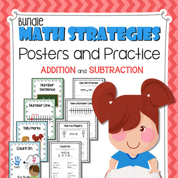 Math Strategies Posters and Practice Sheets BUNDLE (Additi