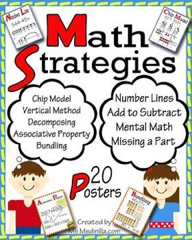 Math Strategies Anchor Charts, 20 Posters, CCSS 2.NBT.B.5,