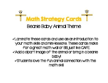 Math Strategy Cards Animal Theme