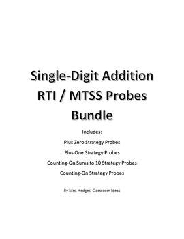 Basic Addition Math Strategy Probes for RTI / MTSST Bundle