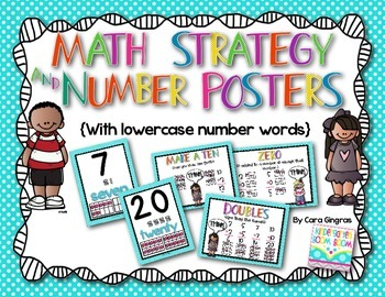 Math Strategy and Number Posters {lowercase number words-p