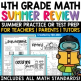 Math Summer Skills Review NO PREP Packet (4th Grade)