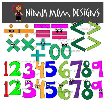 Math Symbols and Number Clip Art in Color and Black Line