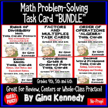 Math Task Card Bundle, Factors, Multiples, Decimals, Ratio