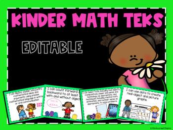 Math TEKS Posters for Kindergarten