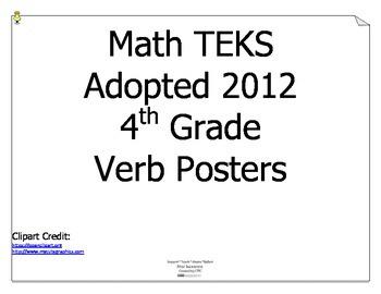 Math TEKS Verbs for 4th Grade
