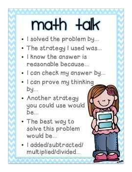Math Talk Poster for Evidence - Based, Accountable Talk