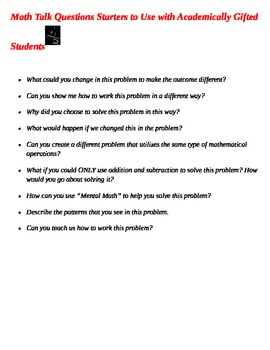 Math Talk Question Starters for Academically Gifted Students