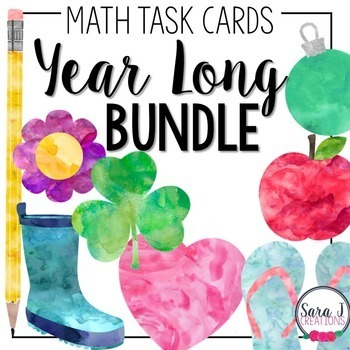 Math Task Card Year Long Bundle