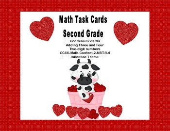 Math Task Cards 2nd Grade Adding 3 and 4 Two-digit Numbers