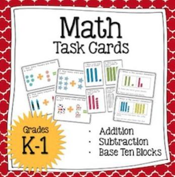 Math Task Cards (7 sets!) + Worksheets: Addition & Subtrac