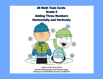 Math Task Cards  Adding Three 2- Digit Numbers-Vertically