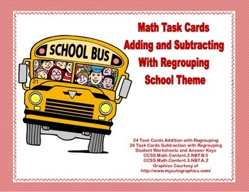 Math Task Cards-Adding and Subtracting With Regrouping-Sch