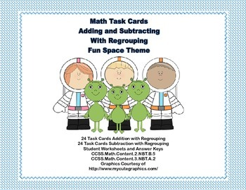 Math Task Cards-Adding and Subtracting With Regrouping-Spa