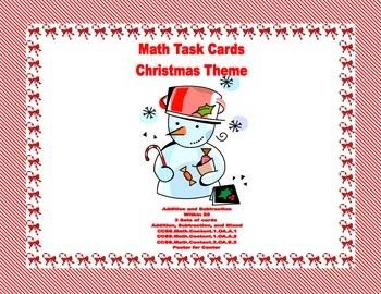 Math Task Cards-Christmas Theme -Grades 1-2 Add Subtract w