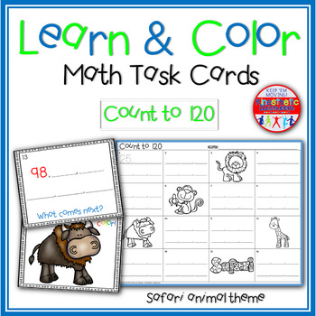 Math Task Cards - Count to 120 - Learn & Color Scoot Game
