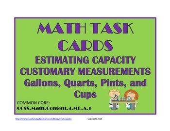 Math Task Cards Estimating Capacity