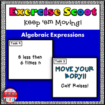 Algebraic Expressions: Math Task Cards - Exercise Scoot!