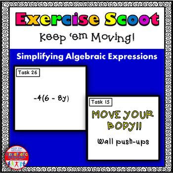 Simplifying Algebraic Expressions: Math Task Cards - Exerc