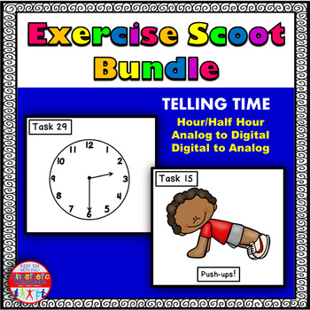 Telling Time Bundle: Math Task Cards - Exercise Scoot!