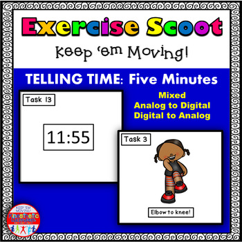 Telling Time 5 Minute Intervals Set 2: Math Task Cards - E