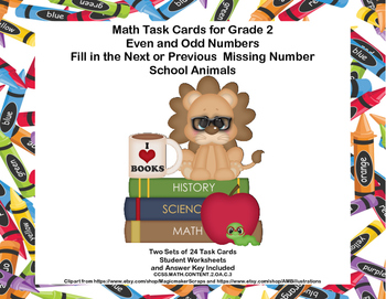 Math Task Cards- Grade 2- Odd  Even Numbers-Fill in the Mi