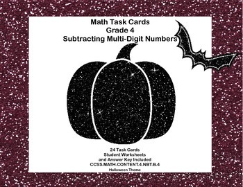 Math Task Cards Grade 4 Subtracting Multi-Digit Numbers CC
