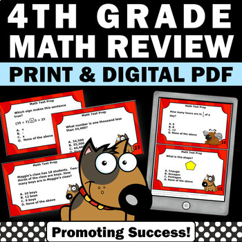 4th Grade Math Center Task Cards for Review or Test Prep G