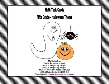 Math Task Cards Grade 5- Multiplication -CCSS.5.NBT.B.5 Ha