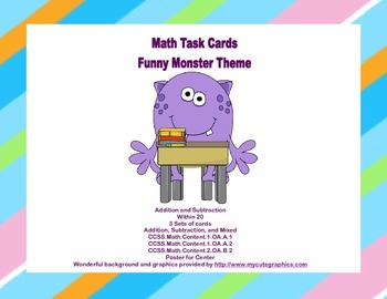 Math Task Cards- Grades 1-2 Addition/Subtraction Within 20