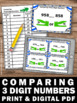 Comparing 3 Digit Numbers Task Cards 1st 2nd Grade Math Ac