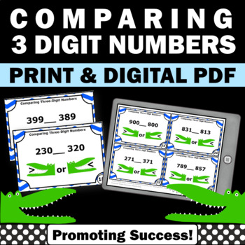 comparing 3 digit numbers task cards activities games