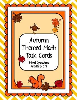 Math Task Cards: Mixed Operation, Autumn Theme