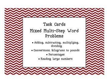 Math Task Cards Multi-Step Word Problems