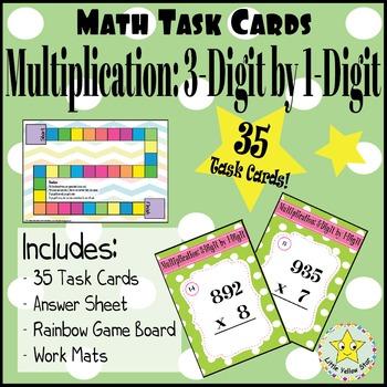 Math Task Cards:  Multiplication: 3-Digit by 1-Digit [35 T