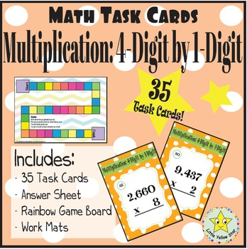 Math Task Cards: Multiplication: 4-Digit by 1-Digit [35 Ta