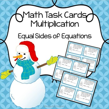 Math Task Cards Multiplication : Equal Sides of Equations