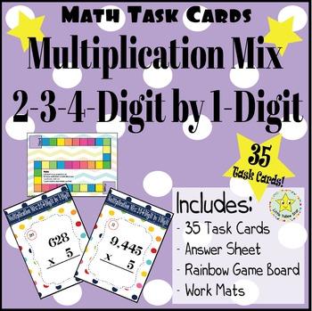 Math Task Cards: Multiplication Mix: 2-3-4-Digit by 1-Digi