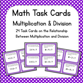Math Task Cards Multiplication and Division
