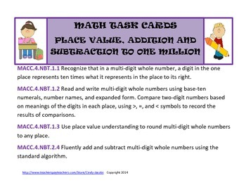 Math Task Cards Place Value, Addition and Subtraction to O