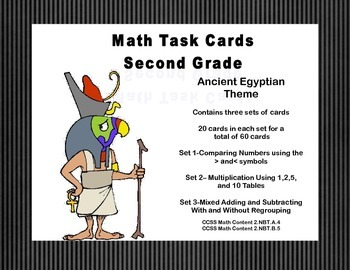 Math Task Cards-Second Grade Review Ancient Egyptian Theme