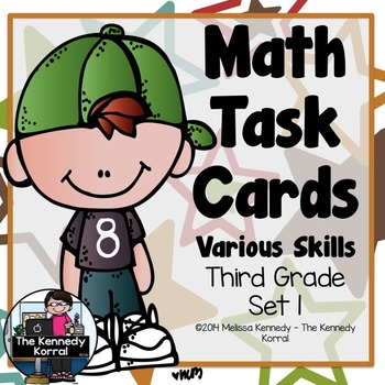 Math Task Cards Various Skills (24 Cards with Response She
