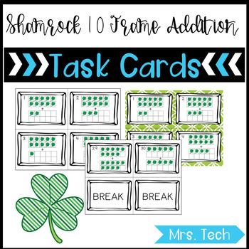 Math Task Cards - St. Patrick's Day 10 Frame Addition