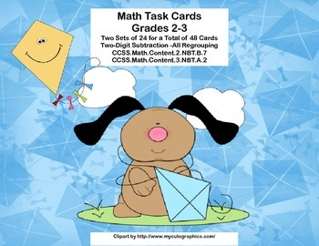 Math Task Cards-Subtracting With Regrouping-2.NBT.B.5 & 3.
