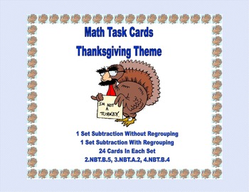 Math Task Cards- Thanksgiving Theme-Subtraction With & Wit