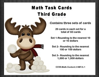 Math Task Cards-Third Grade-Rounding 10's,100's,1,000's-CC