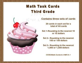 Math Task Cards-Third Grade-Rounding 10's,100's,1,000's-Cu